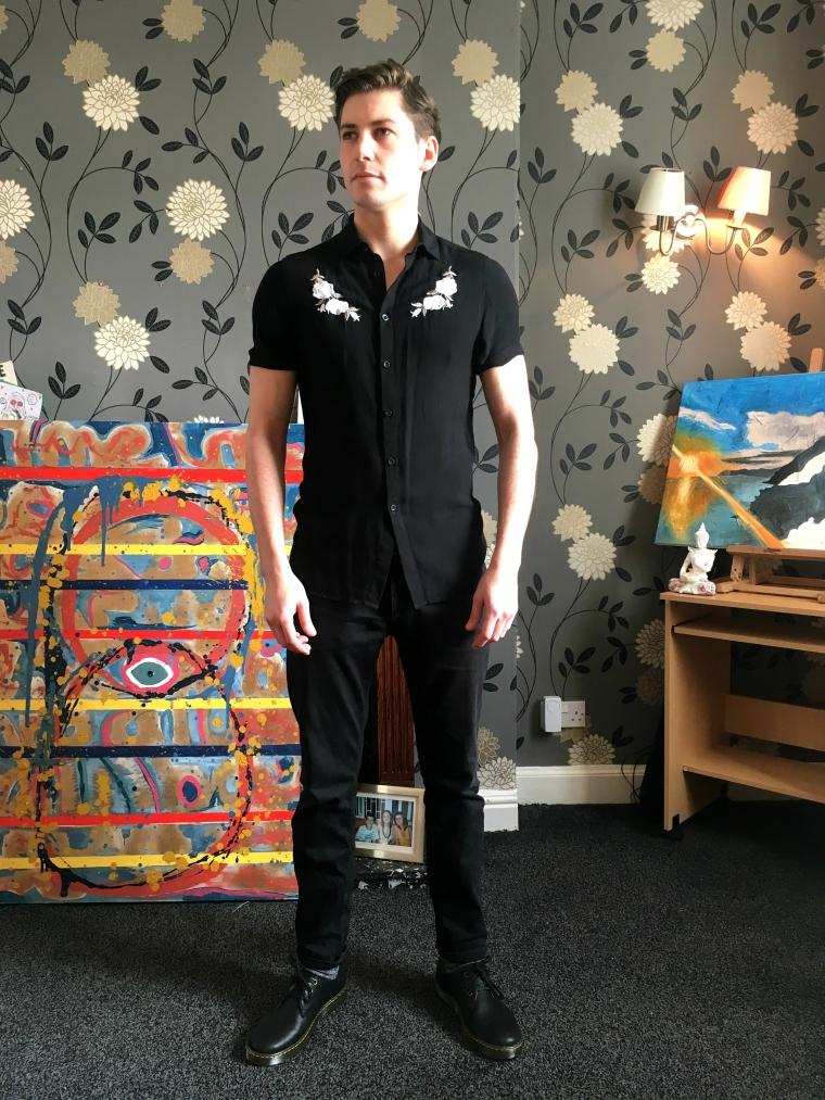 man wearing floral embroidered ASOS fashion shirt