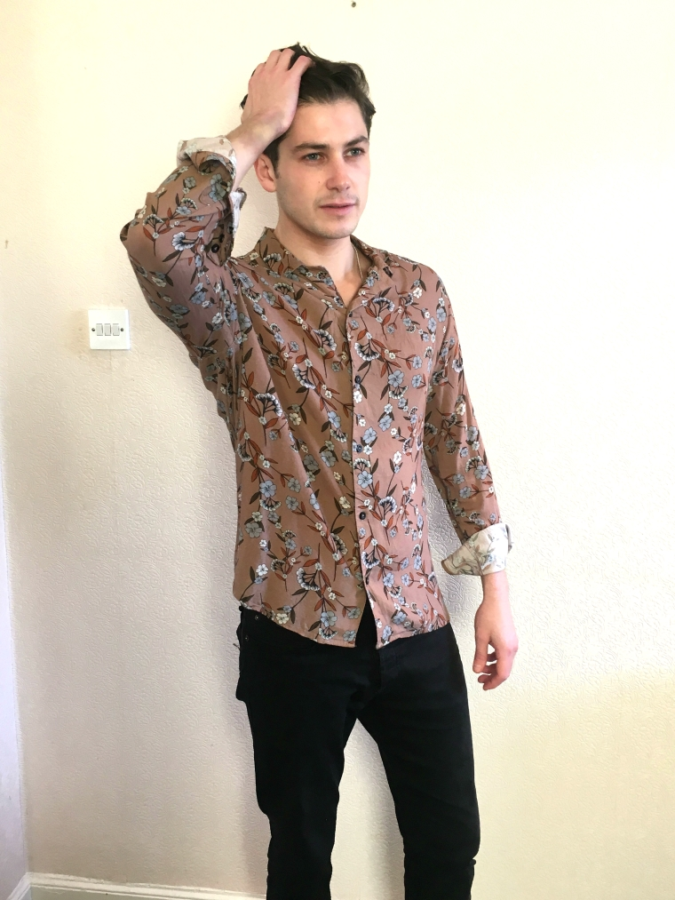 man wearing pink ASOS floral shirt